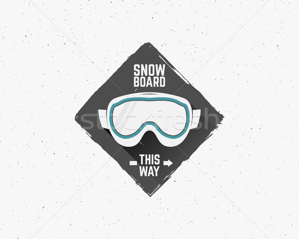 Hand drawn Snowboarding extreme logo, label templates. Unusual Winter snowboard sport sticker. Emble Stock photo © JeksonGraphics
