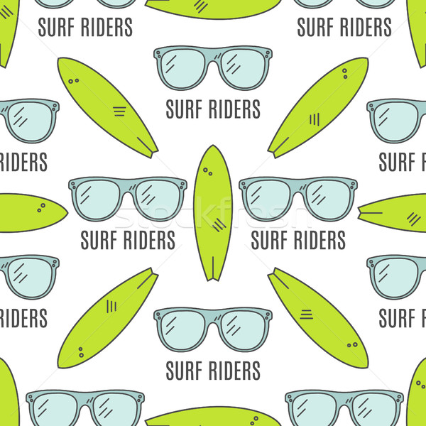 Surfing patterns. Summer seamless design with surfer glasses, surfboards. Cute flat colors. Vector i Stock photo © JeksonGraphics
