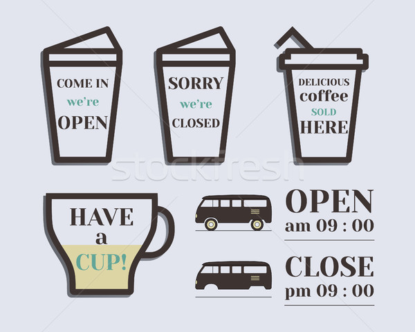 Coffee signs. Open and Closed elements. Rv park and campground. Retro and Vintage colors design. Iso Stock photo © JeksonGraphics