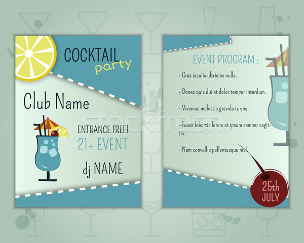 Summer cocktail party flyer layout template with blue lagoon cocktail and event program. Fresh Moder Stock photo © JeksonGraphics
