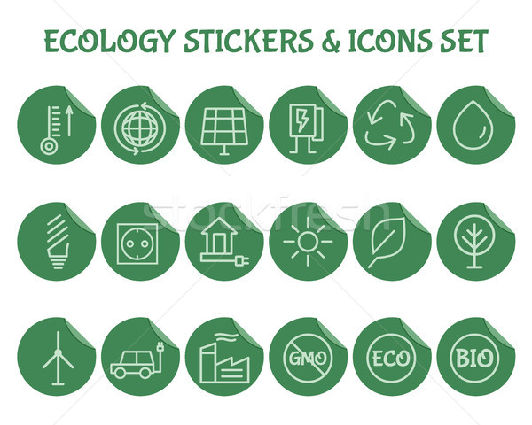 Ecology Outline Icon Set. Stock photo © JeksonGraphics