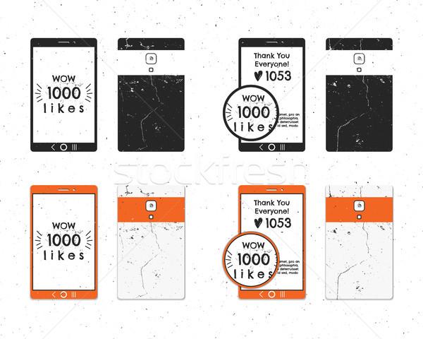 Szett klasszikus köszönjük jelvények közösségi média címkék Stock fotó © JeksonGraphics