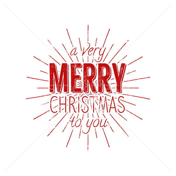 Merry Christmas to you typography label. Retro photo overlay, badge. holiday lettering illustration. Stock photo © JeksonGraphics