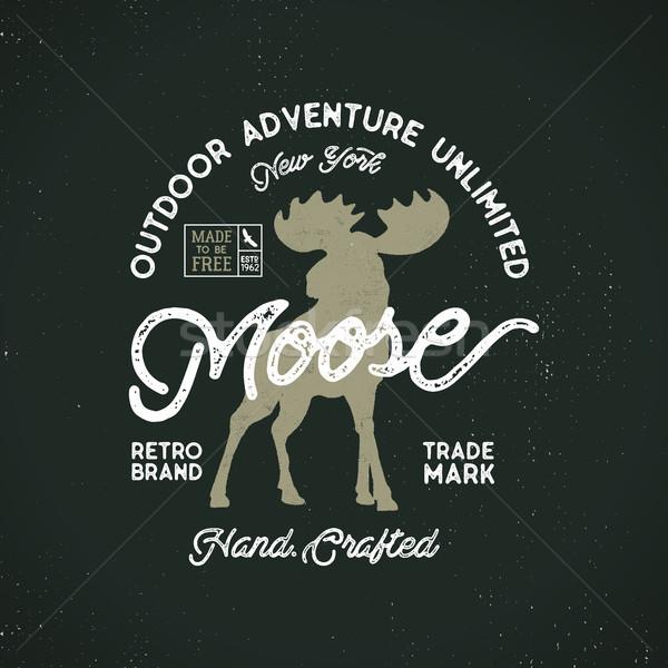 Outdoor avontuur label vintage typografie buitenshuis Stockfoto © JeksonGraphics
