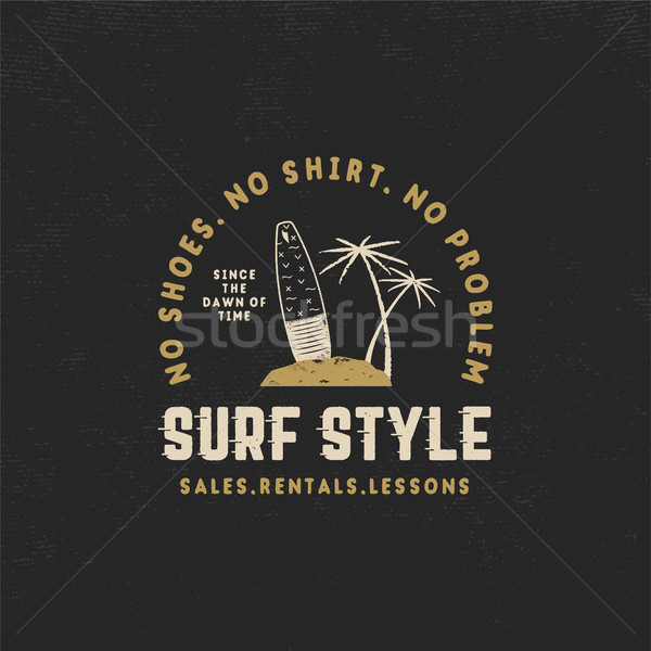 Surf style vintage label. Summer surfing style emblem with surfboard, tropical palms and typography  Stock photo © JeksonGraphics