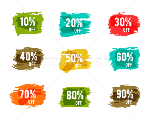Christmas, new year, black friday, cyber monday or winter autumn sale percents. Vector paint waterco Stock photo © JeksonGraphics