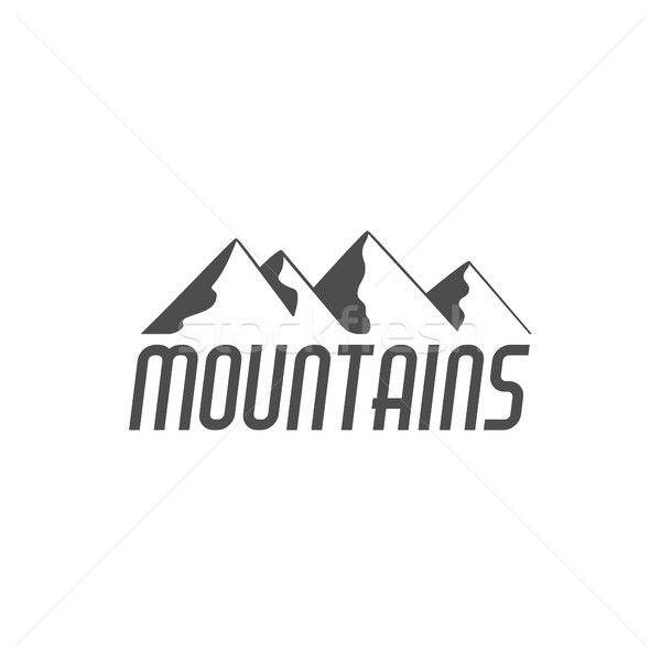 Hand drawn mountain badge. Wilderness old style typography label. Minimalistic line design . Retro m Stock photo © JeksonGraphics