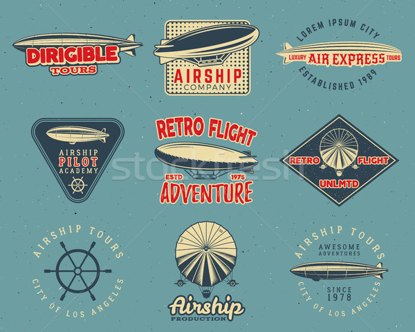 Vintage airship logo designs set. Retro Dirigible badges collection. Airplane Label design. Old . Us Stock photo © JeksonGraphics