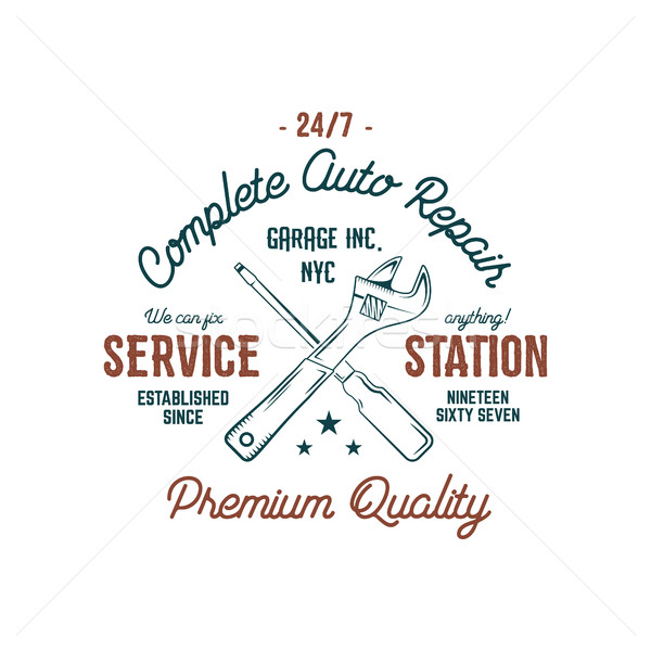 Service station vintage label, tee design graphics, complete auto repair service typography print. C Stock photo © JeksonGraphics