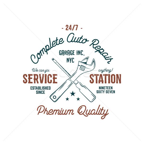 Dienst station vintage label ontwerp graphics Stockfoto © JeksonGraphics