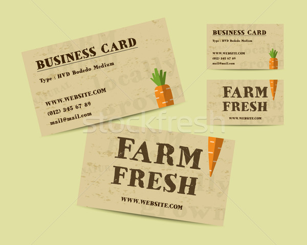 Stylish Farm Fresh business card, template with carrot. Mock up design. Retro colors. Best for natur Stock photo © JeksonGraphics