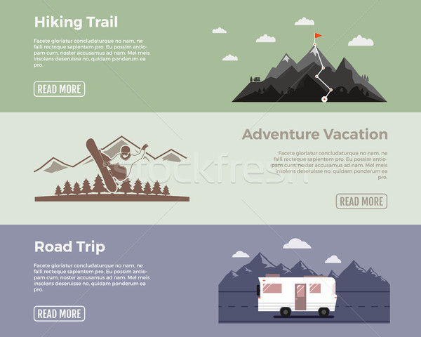 Camping vector flat banners set. Adventure hiking trail banner, extreme adventure vacation banner, r Stock photo © JeksonGraphics