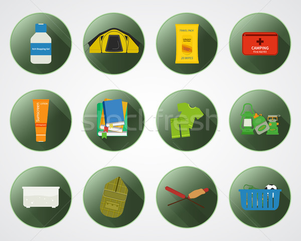 Camping with kids buttons with shadow. Set of flat adventure traveling elements and symbols. Summer  Stock photo © JeksonGraphics