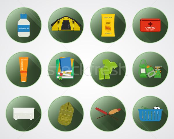 キャンプ 子供 ボタン 影 セット 冒険 ストックフォト © JeksonGraphics