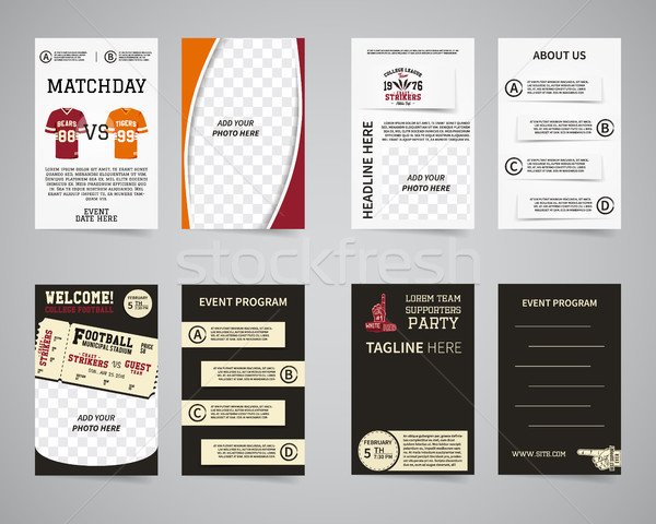 American football party back and front flyer template design collection. Usa Sport brand identity le Stock photo © JeksonGraphics