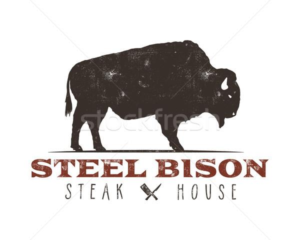 Biefstuk huis vintage label typografie Stockfoto © JeksonGraphics