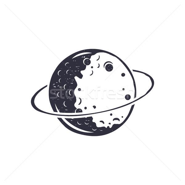 Vintage hand drawn moon symbol. Silhouette monochrome moon icon. Stock illustration isolated on whit Stock photo © JeksonGraphics