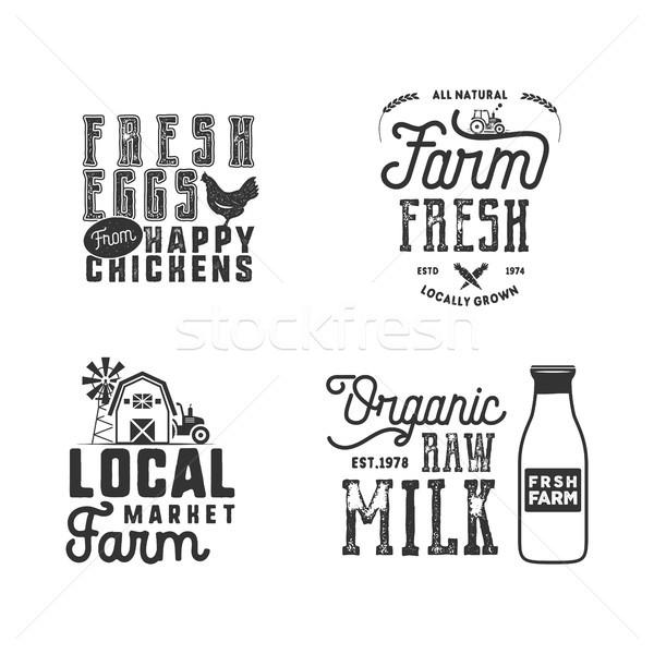 Farmers Market, organic food logo, eco badges set. Fresh and Local product label designs. Typographi Stock photo © JeksonGraphics