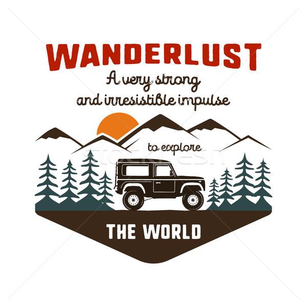 Wanderlust Logo Emblem. Vintage hand drawn travel badge. Featuring old car riding through the mounta Stock photo © JeksonGraphics