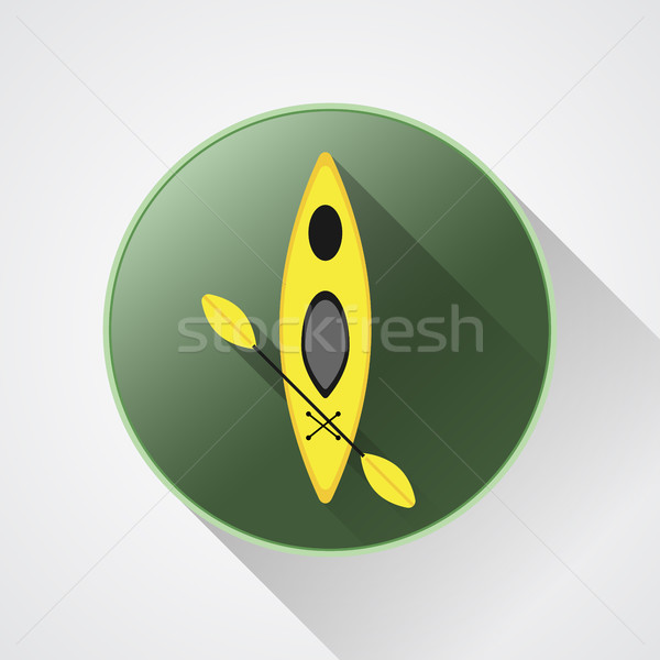 Canoe icon vector. Kayak illustration on a green button. Summer icon and badge. Long shadow. Stock photo © JeksonGraphics