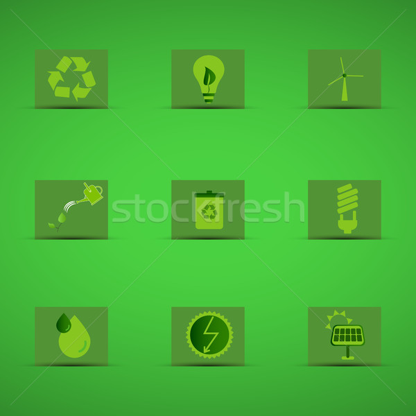 Respectueux de l'environnement vert design logo badge Photo stock © JeksonGraphics