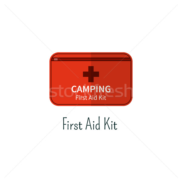 First aid kit flat icon  Camping first aid box color pictogram