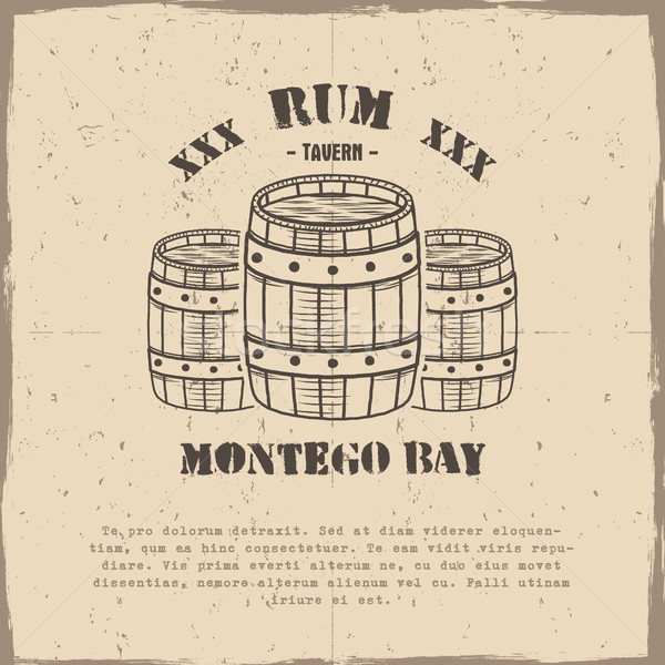Vintage handcrafted poster template with old barrels and vector sign - rum, montego bay. Sketching f Stock photo © JeksonGraphics