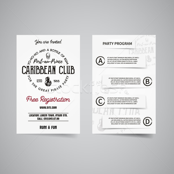 caribbean party back and front flyer template design. Invitation template. Rum label brand identity  Stock photo © JeksonGraphics
