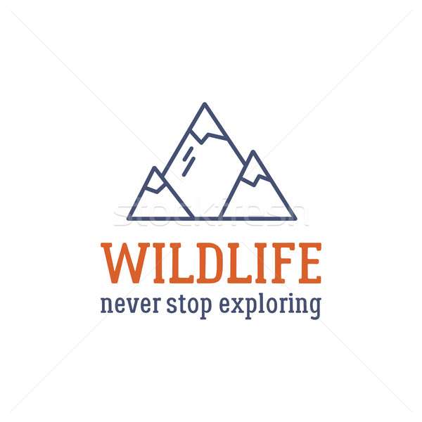 Camping logo design with typography and travel elements - mountain. Vector text - wildlife, never st Stock photo © JeksonGraphics