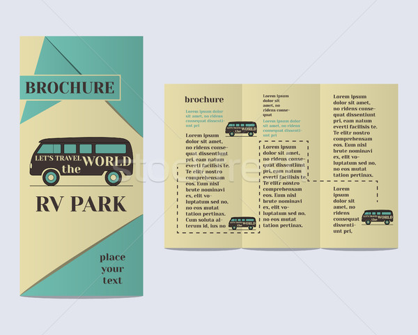 Travel and Camping Brochure Flyer design Layout template. Rv park and campground with infographic el Stock photo © JeksonGraphics