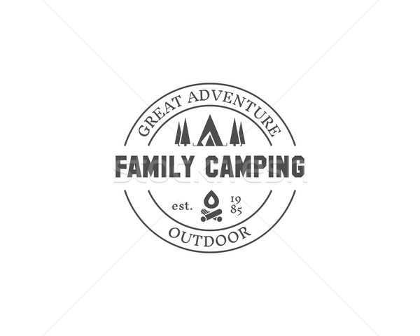 Retro family camping badge, outdoor logo, emblem and label. Forest campsite concept, monochrome desi Stock photo © JeksonGraphics