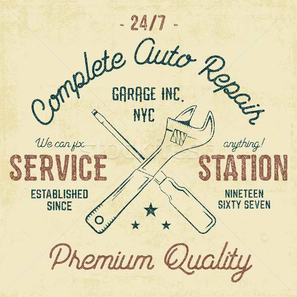 Service station vintage label, tee design graphics, auto repair service typography print. T-shirt st Stock photo © JeksonGraphics