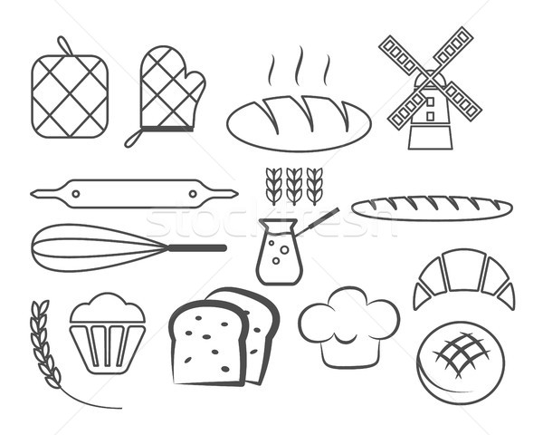 Stock photo: Set of bakery line icons and design elements, symbols. Fresh bread, cakes logo templates. Monochrome