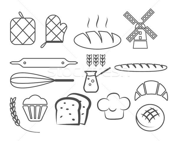 Establecer panadería línea iconos diseno elementos Foto stock © JeksonGraphics