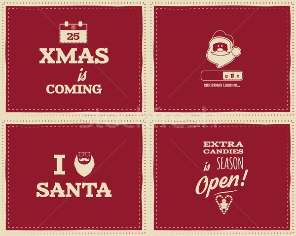 Stock photo: Set of Christmas funny signs, quotes backgrounds designs for kids - loading bar, love santa, xmas is