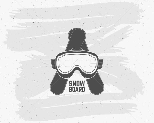 Snowboarden extreme logo label sjablonen winter Stockfoto © JeksonGraphics