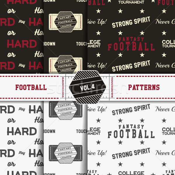 Set of american football patterns. Usa sports seamless background collection. Sport wallpaper with f Stock photo © JeksonGraphics