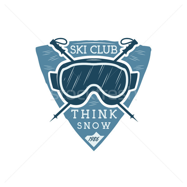 Winter sports ski club Label with goggles. Vintage Mountain explorer badge. Outdoor adventure logo d Stock photo © JeksonGraphics