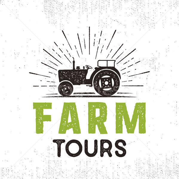Farm tours logo with tractor and sunbursts. Retro style. Black and green colors. Isolated on white b Stock photo © JeksonGraphics