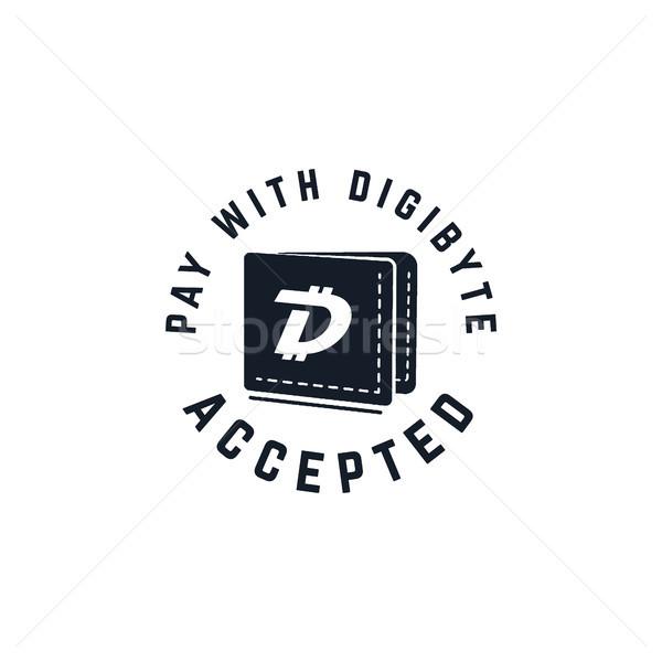 Digibyte digital asset accepted concept. DGB wallet. Vintage hand drawn crypto emblem. Blockchain te Stock photo © JeksonGraphics
