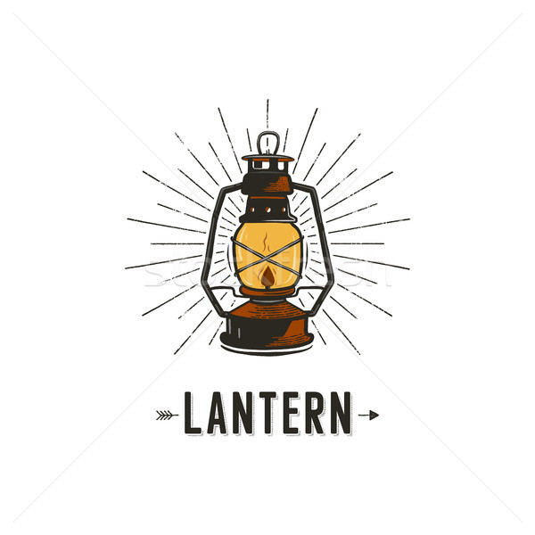 Vintage hand-drawn lantern concept. Perfect for logo design, badge, camping labels. Retro colors. Sy Stock photo © JeksonGraphics