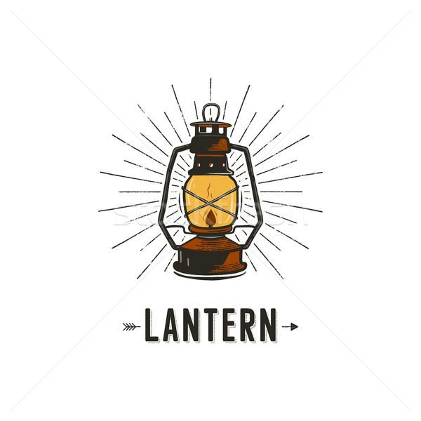 Vintage lanterna perfetto logo design badge camping Foto d'archivio © JeksonGraphics