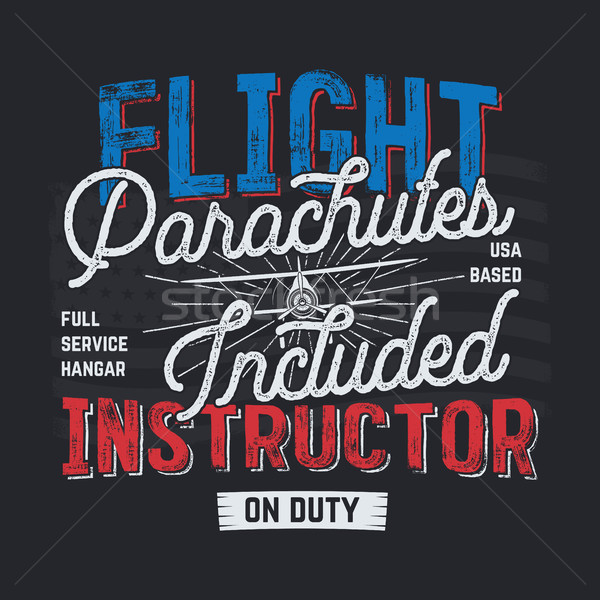 Vintage hand drawn tee graphic design. Flight Instructor quote. USA based sign. Mechanic on Duty. Ty Stock photo © JeksonGraphics