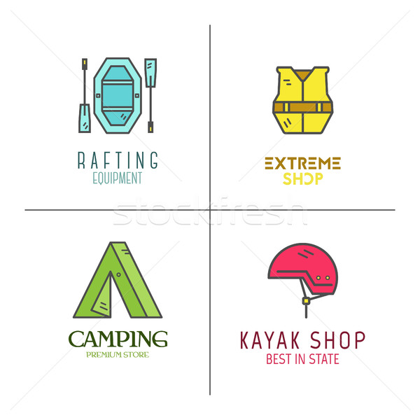 Collection of minimalistic rafting logos, labels or line badges. Outdoor adventure, cute color desig Stock photo © JeksonGraphics