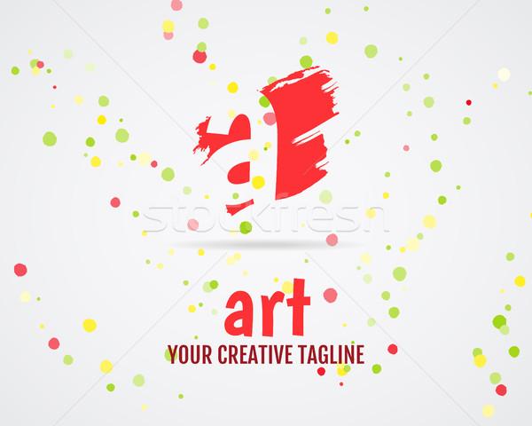 Vector abstract art logo design. Art studio. Art logo icon. Abstract logotype template. Round abstra Stock photo © JeksonGraphics