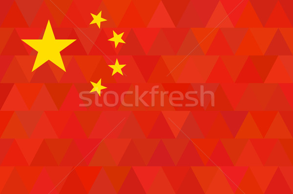 China Flag. Original proportion and colors. Geometric unusual concept. Abstract triangle and polygon Stock photo © JeksonGraphics