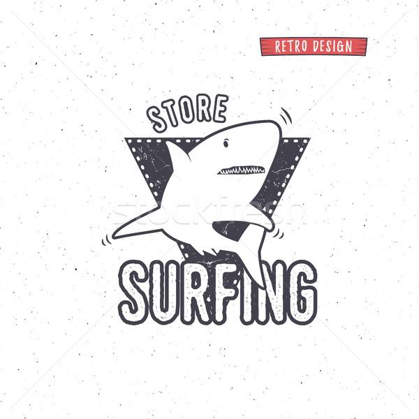 Klasszikus szörfözik bolt kitűző terv szörf Stock fotó © JeksonGraphics