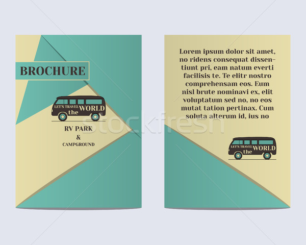 Travel Brochure Flyer design Layout template. Rv park and campground. Retro and Vintage colors desig Stock photo © JeksonGraphics