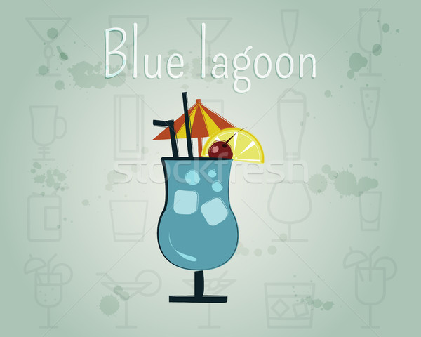 Blue Lagoon Cocktail banner and poster template. Summer stylish design. Isolated on unusual Backgrou Stock photo © JeksonGraphics
