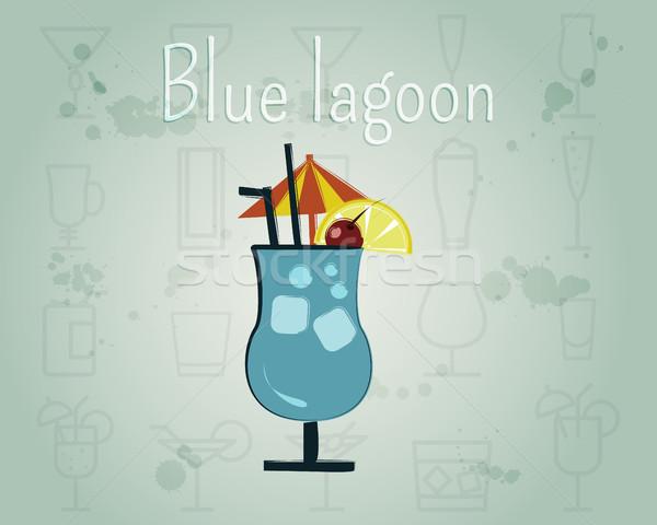 Kék koktél szalag poszter sablon nyár Stock fotó © JeksonGraphics
